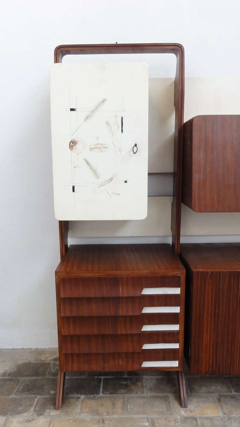 Unique Rosewood Cabinet by Vittorio Dassi with Painting by Pietro Toppi, 1955 For Sale 1