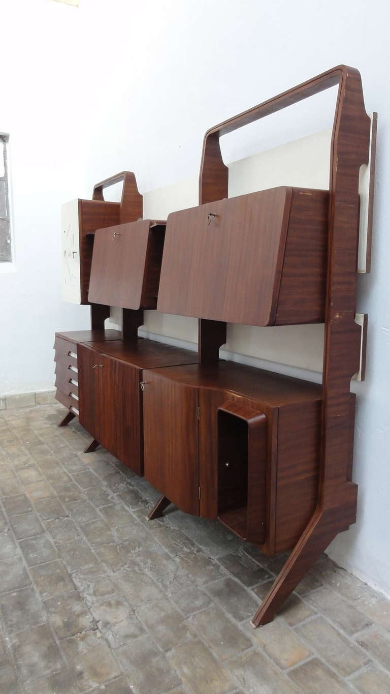 Mid-Century Modern Unique Rosewood Cabinet by Vittorio Dassi with Painting by Pietro Toppi, 1955 For Sale