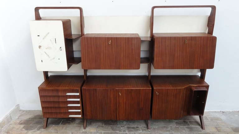 Unique Rosewood Cabinet by Vittorio Dassi with Painting by Pietro Toppi, 1955 For Sale 2