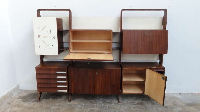 Unique Rosewood Cabinet by Vittorio Dassi with Painting by Pietro Toppi, 1955 For Sale 4