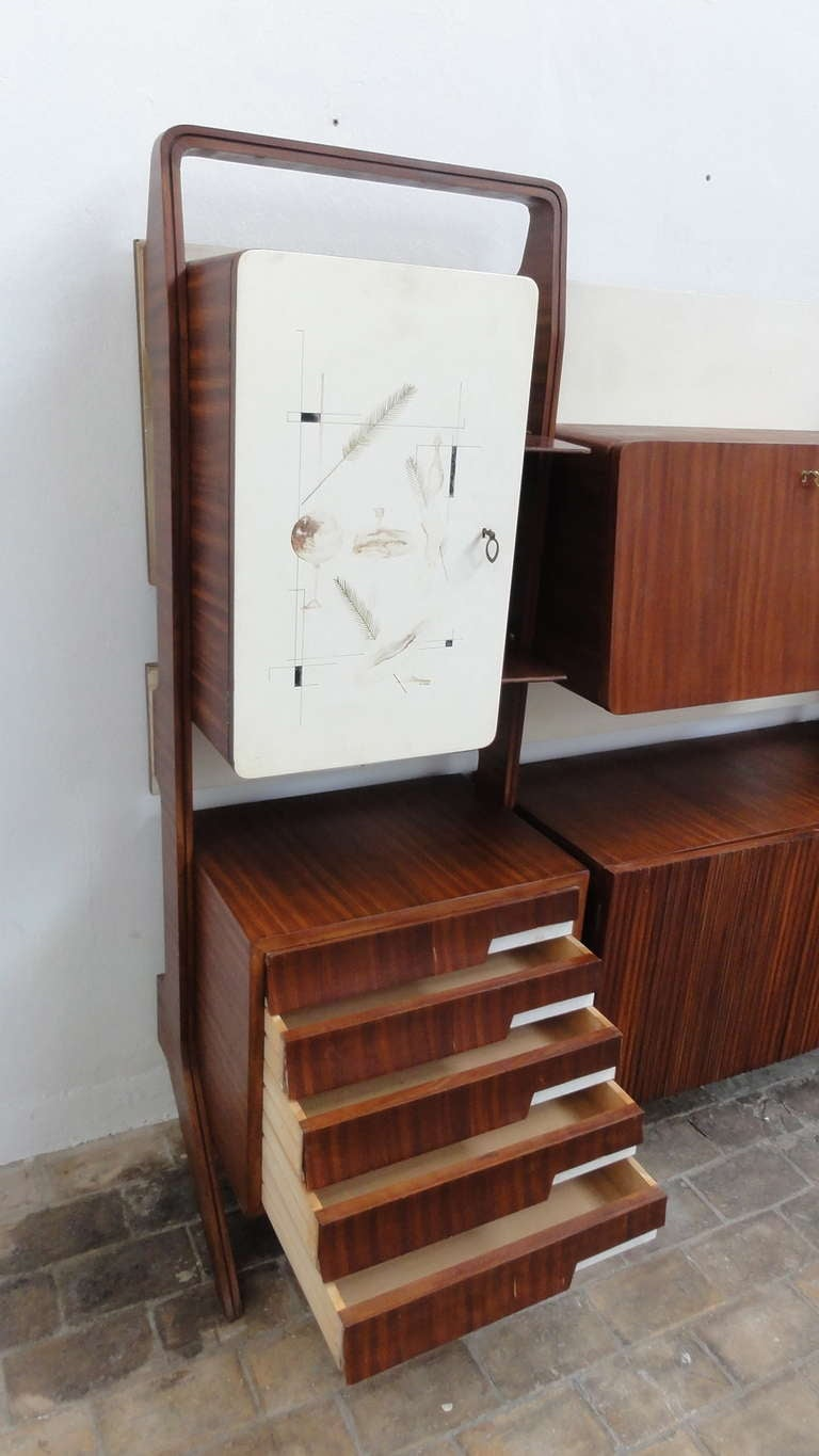 Unique Rosewood Cabinet by Vittorio Dassi with Painting by Pietro Toppi, 1955 For Sale 5