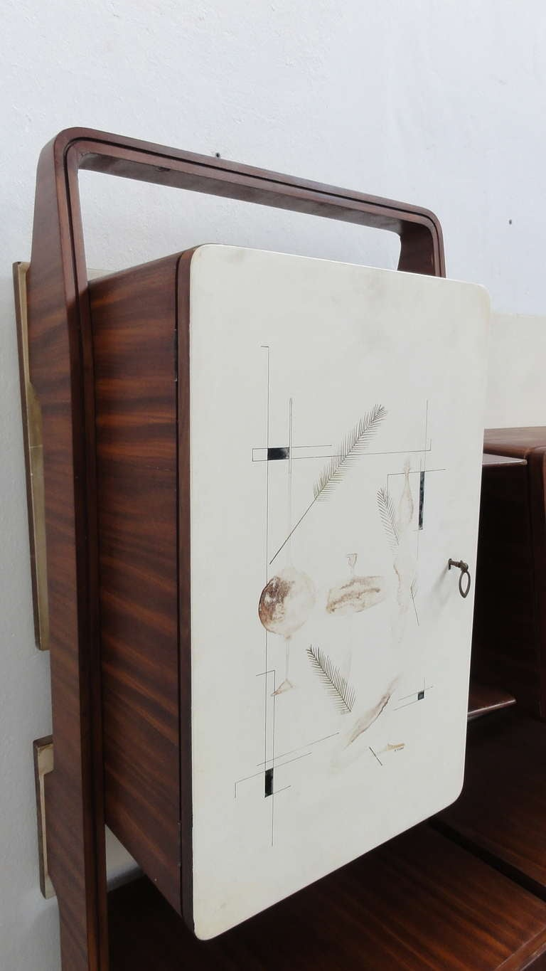 Italian Unique Rosewood Cabinet by Vittorio Dassi with Painting by Pietro Toppi, 1955 For Sale