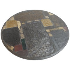 Paul Kingma Brutalist Coffee Table with Mixed Stones and Brass Details