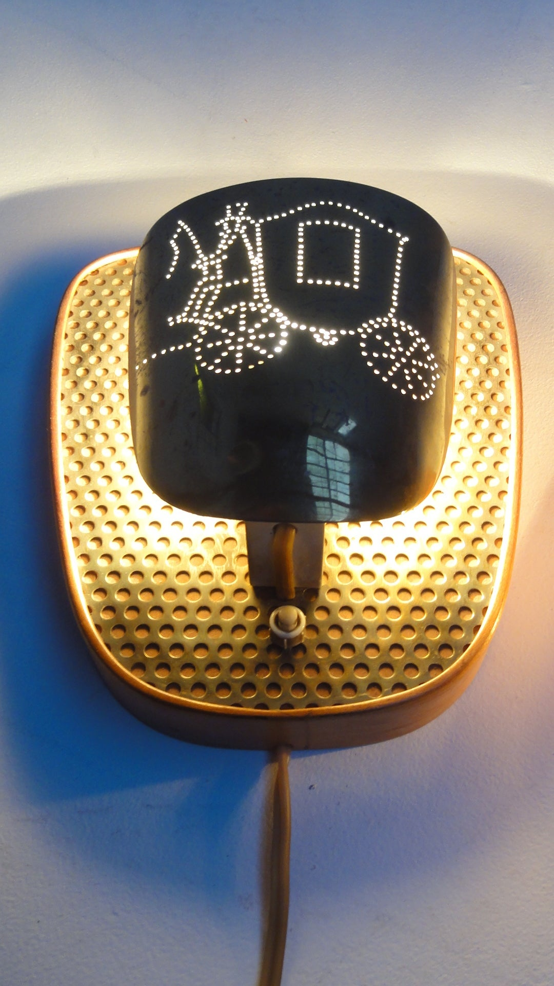Perforated Brass Fornasetti Style Bag Turgi Wall Sconces
