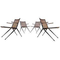 French 50's plastic corded (outdoor) easy chairs