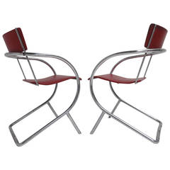 Pair of 1932 Dutch Avant Garde, Model 32 Chairs by Paul Schuitema for D3
