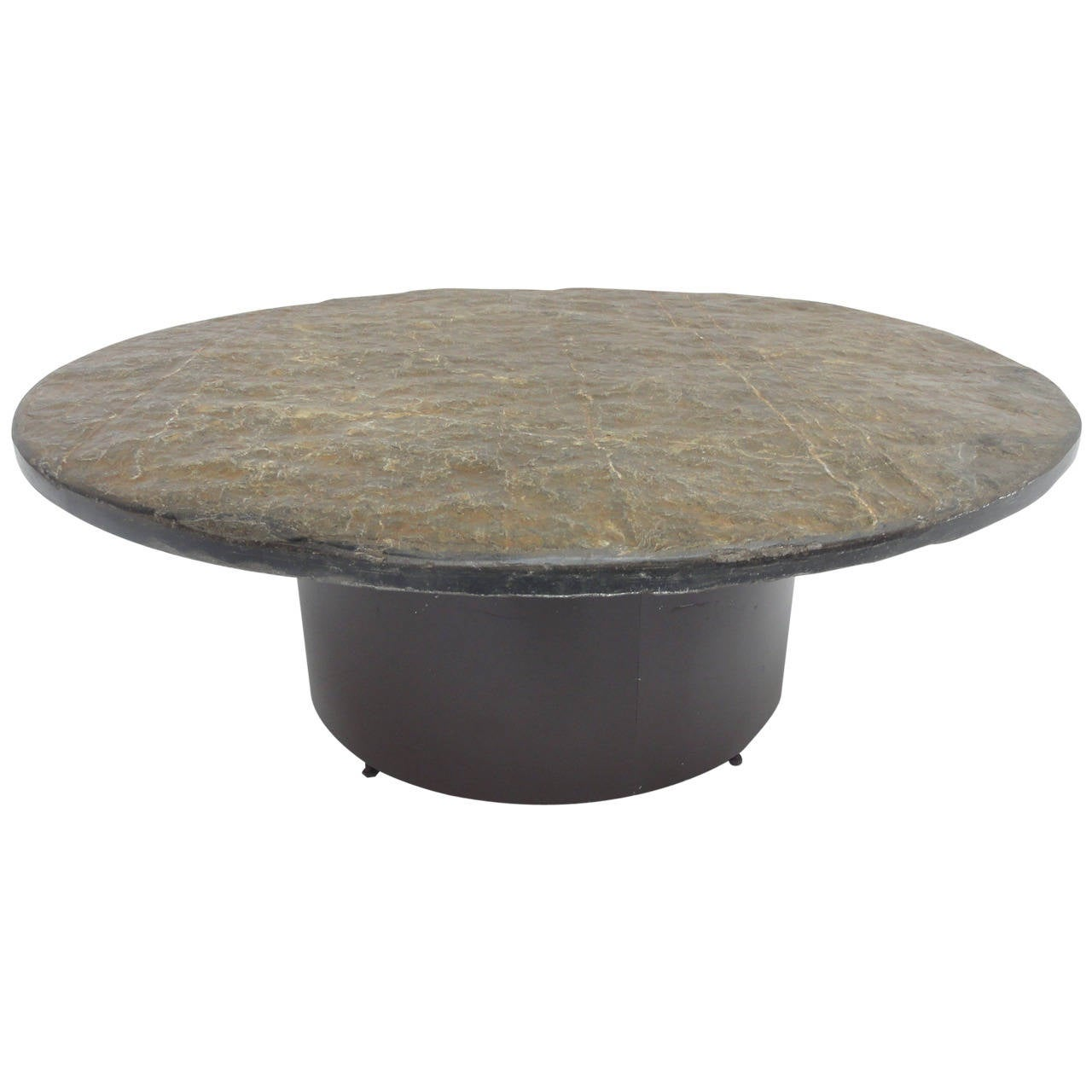 1960 39 S Brutalist Slate Stone Round Coffee Table In The Style Of Paul Kingma For Sale At 1stdibs