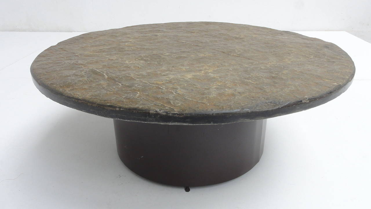 1960 39 S Brutalist Slate Stone Round Coffee Table In The Style Of Paul Kingma At 1stdibs