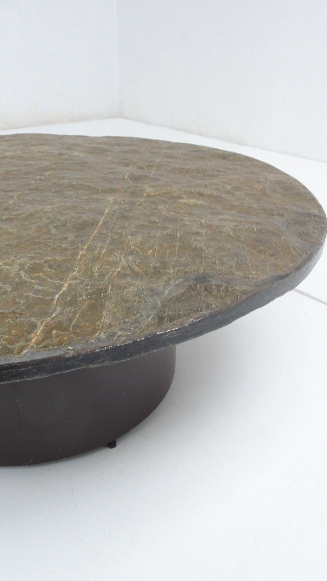 1960 S Brutalist Slate Stone Round Coffee Table In The