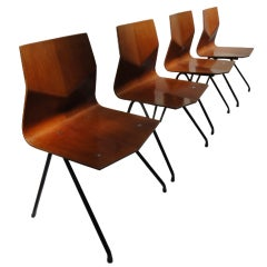 """Rare set of """"diamant"""" chairs by Rene Jean Caillette,Steiner,1959"""