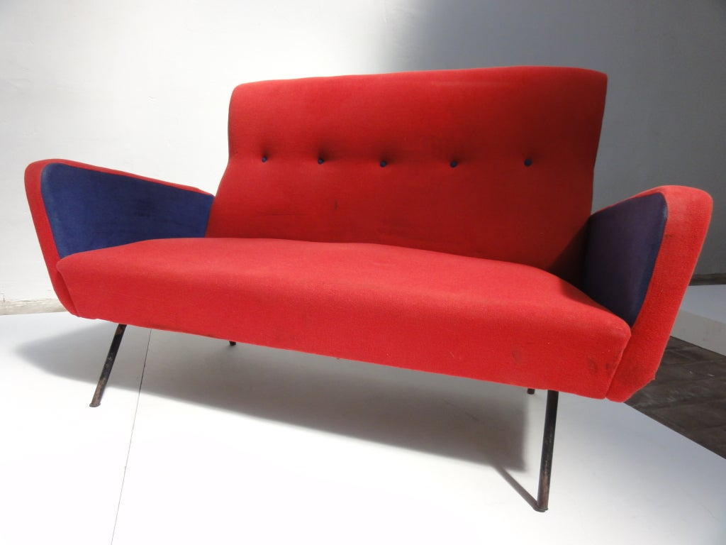 Red and blue Italian Zanuso style 1950's love-seater 5