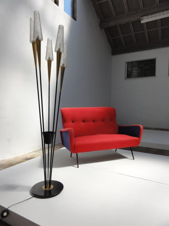 Mid-20th Century Red and blue Italian Zanuso style 1950's love-seater