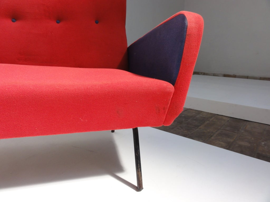 Upholstery Red and blue Italian Zanuso style 1950's love-seater