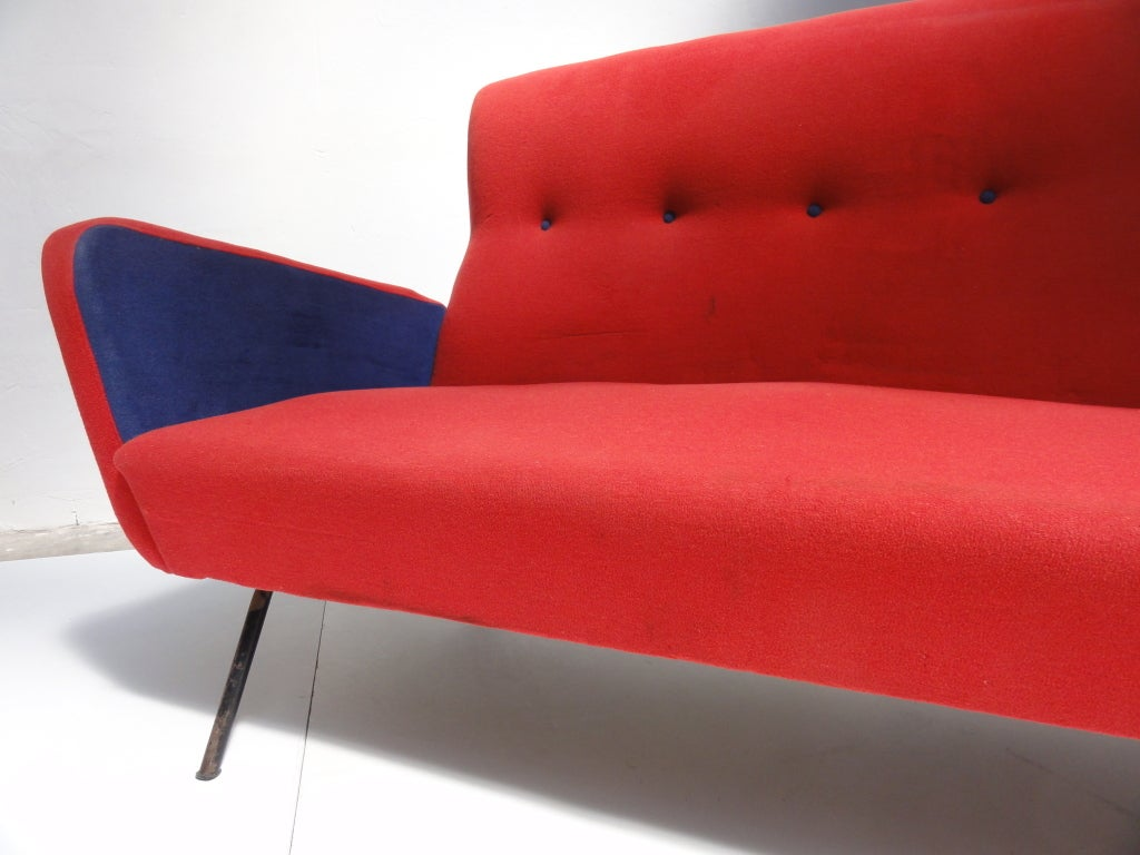 Red and blue Italian Zanuso style 1950's love-seater 1