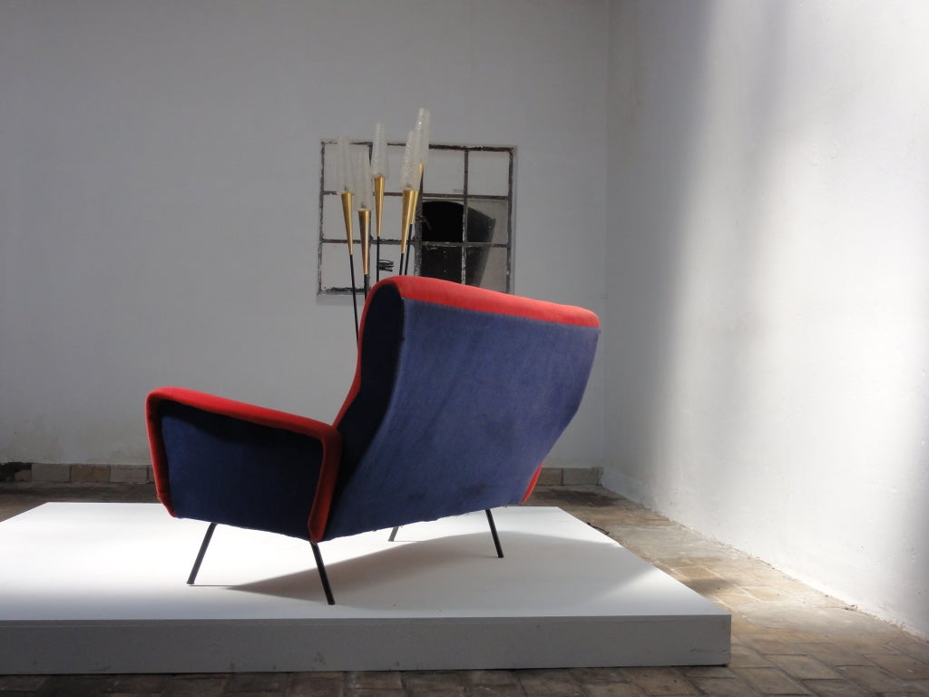 Red and blue Italian Zanuso style 1950's love-seater 2