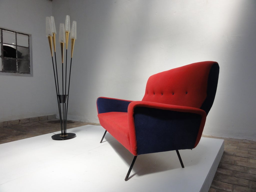 Red and blue Italian Zanuso style 1950's love-seater 4