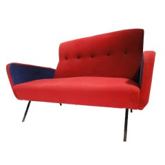 Red and blue Italian Zanuso style 1950's love-seater