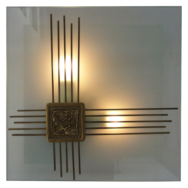 Wall Light Sculpture: Angelo Brotto Light Sculpture In Murano Glass With Bronze