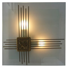 Angelo Brotto light sculpture in murano glass with bronze relief
