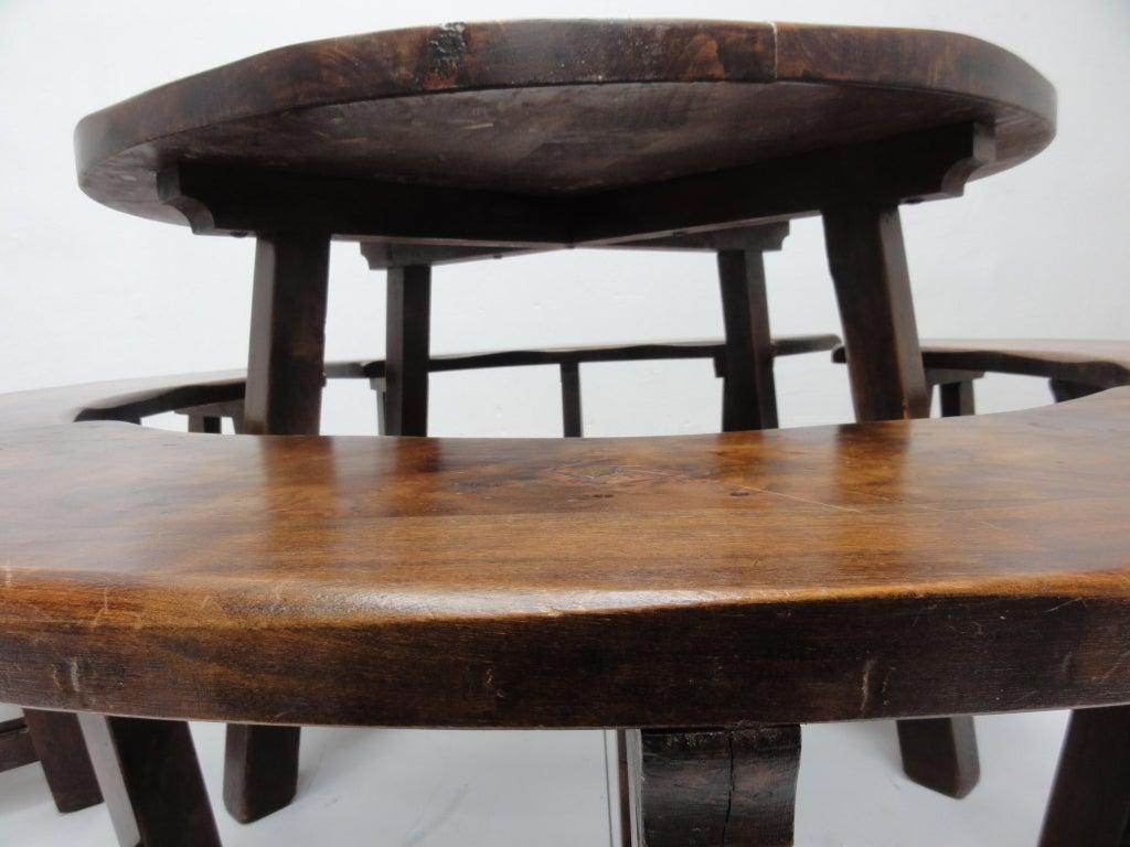 French Rustic Massive Oak Round Dining Set 1950 S P Chapo