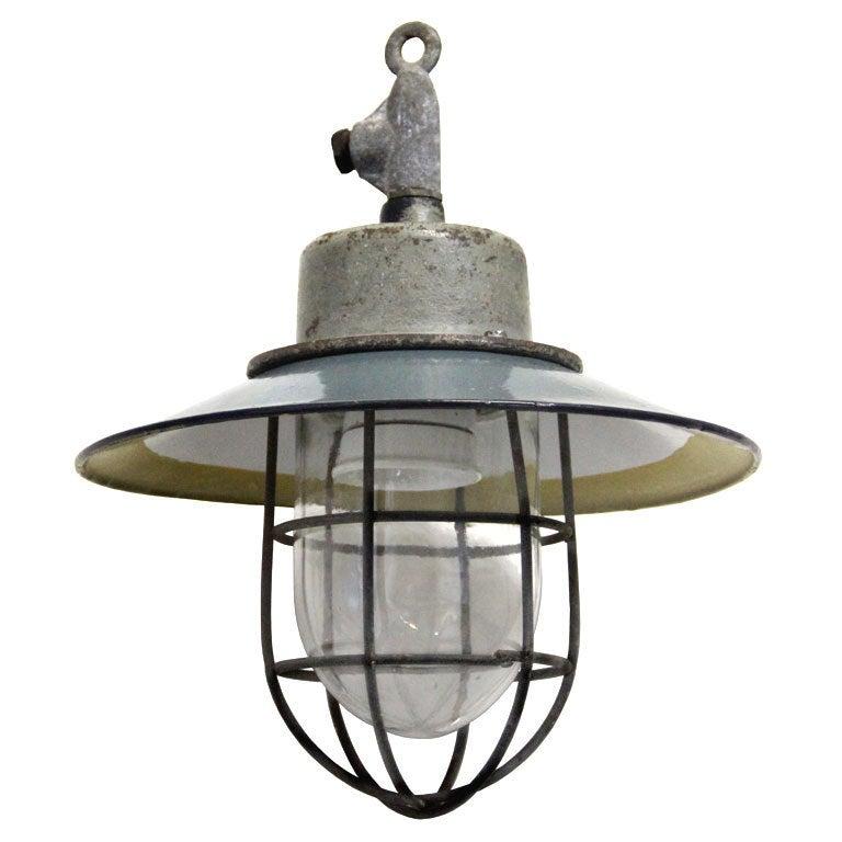 Baja (2 pieces) petrol enamel industrial lamp at 1stdibs