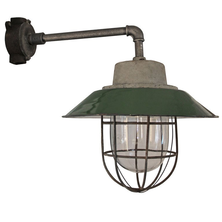 Green Enamel Wall Lights : Arlo Clear Wall Green Enamel Industrial Lamp (6x) at 1stdibs