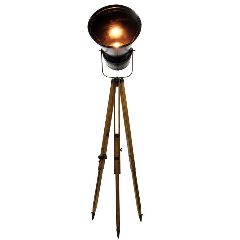relbos industrial spotlight on wooden tripod 1x at 1stdibs. Black Bedroom Furniture Sets. Home Design Ideas