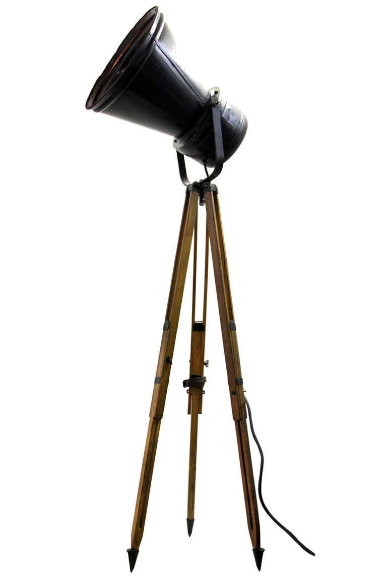 Relbos industrial spotlight on wooden tripod 1x at 1stdibs - Tripod spotlight lamp ...
