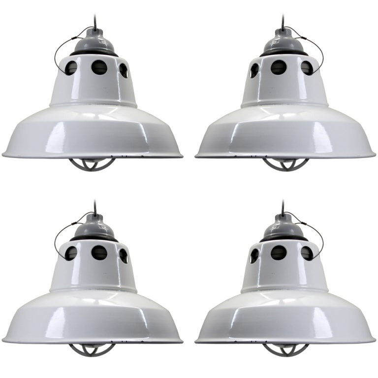 Appleton Light Vintage Industrial: White Industrial Lamps (4x) At 1stdibs