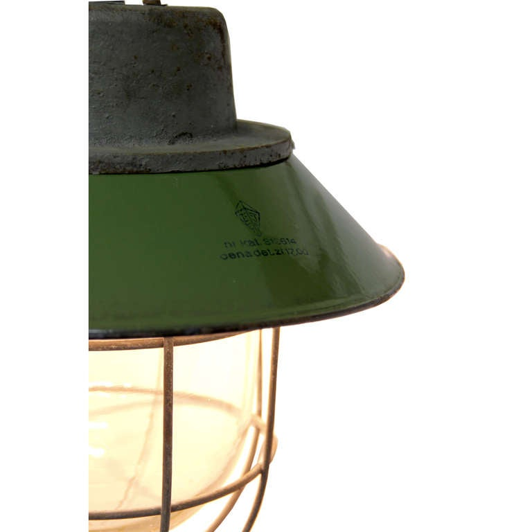 Green Enamel Wall Lights : Kocser green Wall (8 Pieces) Green Enamel Industrial Wall Lamp at 1stdibs