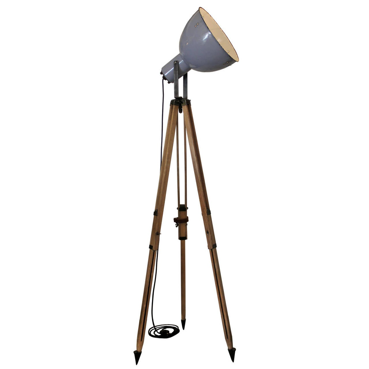 Tripod lipec vintage industrial spotlight on french wooden tripod at 1stdibs - Tripod spotlight lamp ...