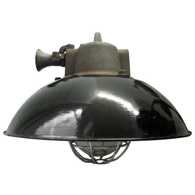 Solenice 2 In Stock Black Enamel Industrial Lamp At