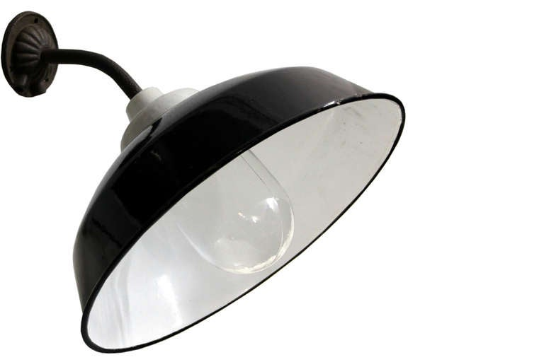 French Enamel Wall Lights : Lucani Black French Enamel Industrial wall lamp at 1stdibs