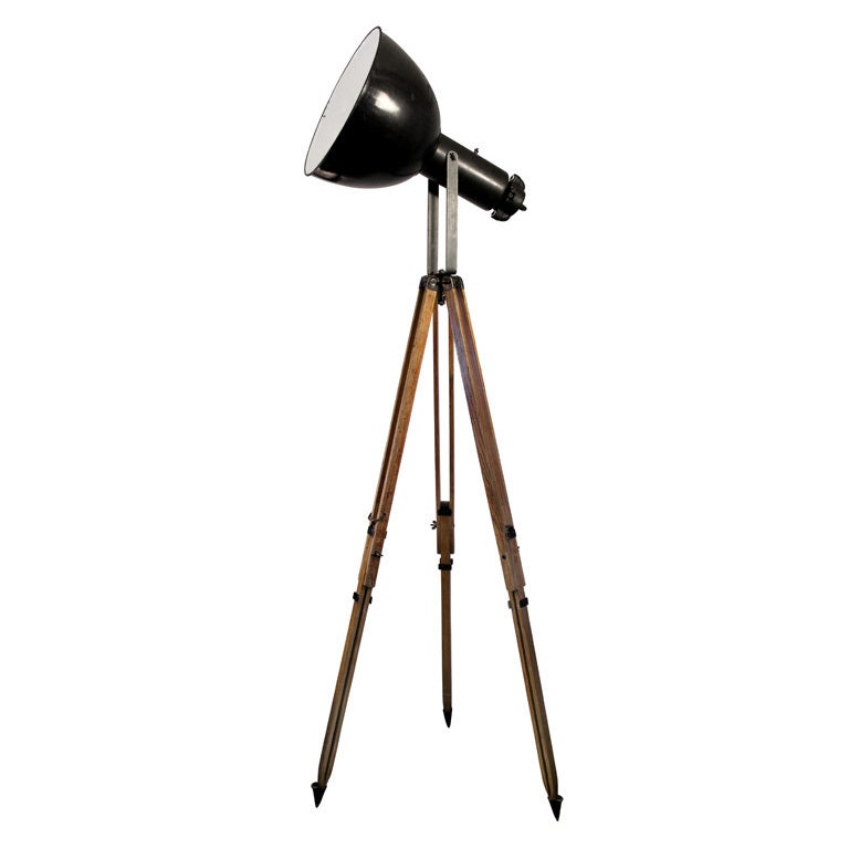 Tripod puy 23 in stock vintage industrial spotlight on french wooden tripod at 1stdibs - Tripod spotlight lamp ...