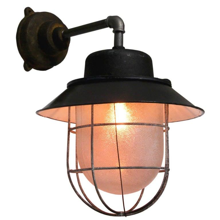 French Enamel Wall Lights : Kocser Black Wall Black Enamel Industrial Wall Lamp at 1stdibs