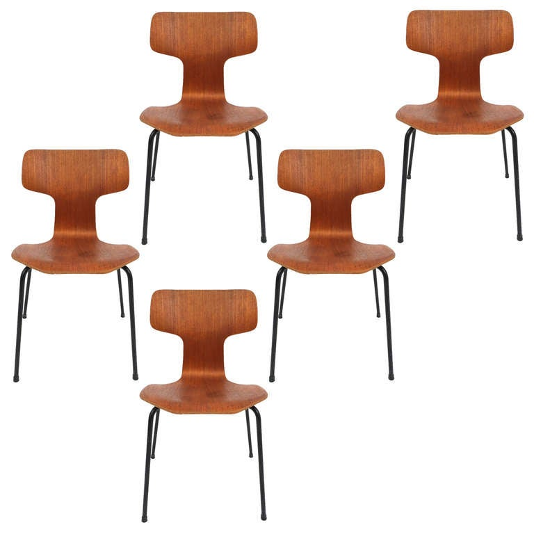 Arne Jacobsen 3103 Teak Wood Laminated Set Of Five Chairs, 1957 1