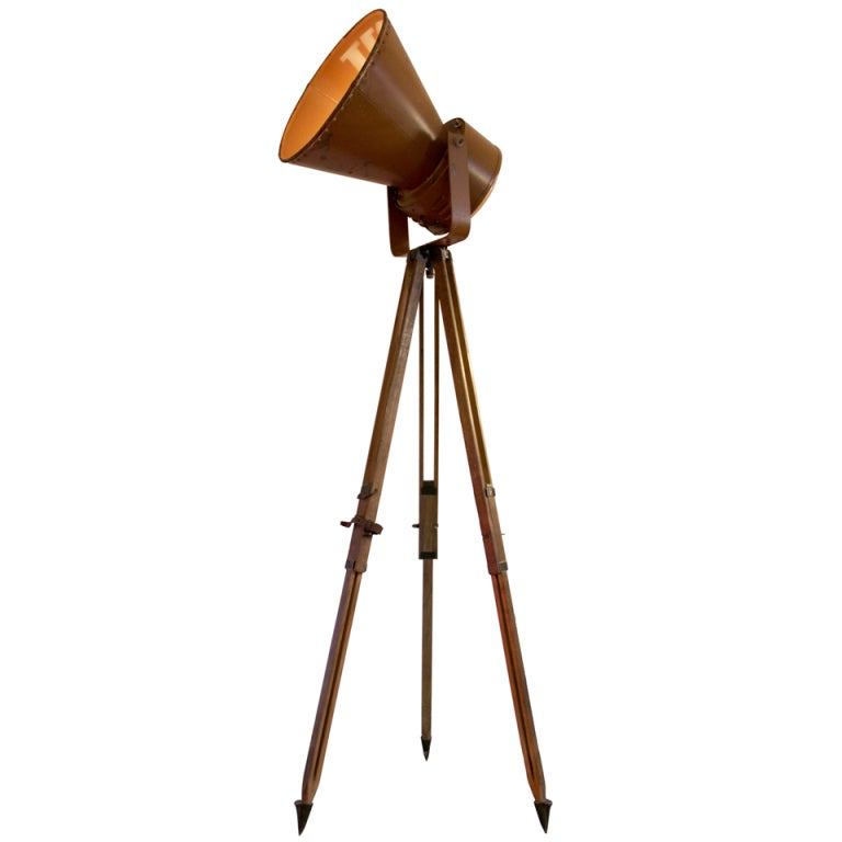Vintage industrial spotlight on french wooden military tripod 10x at 1stdibs - Tripod spotlight lamp ...