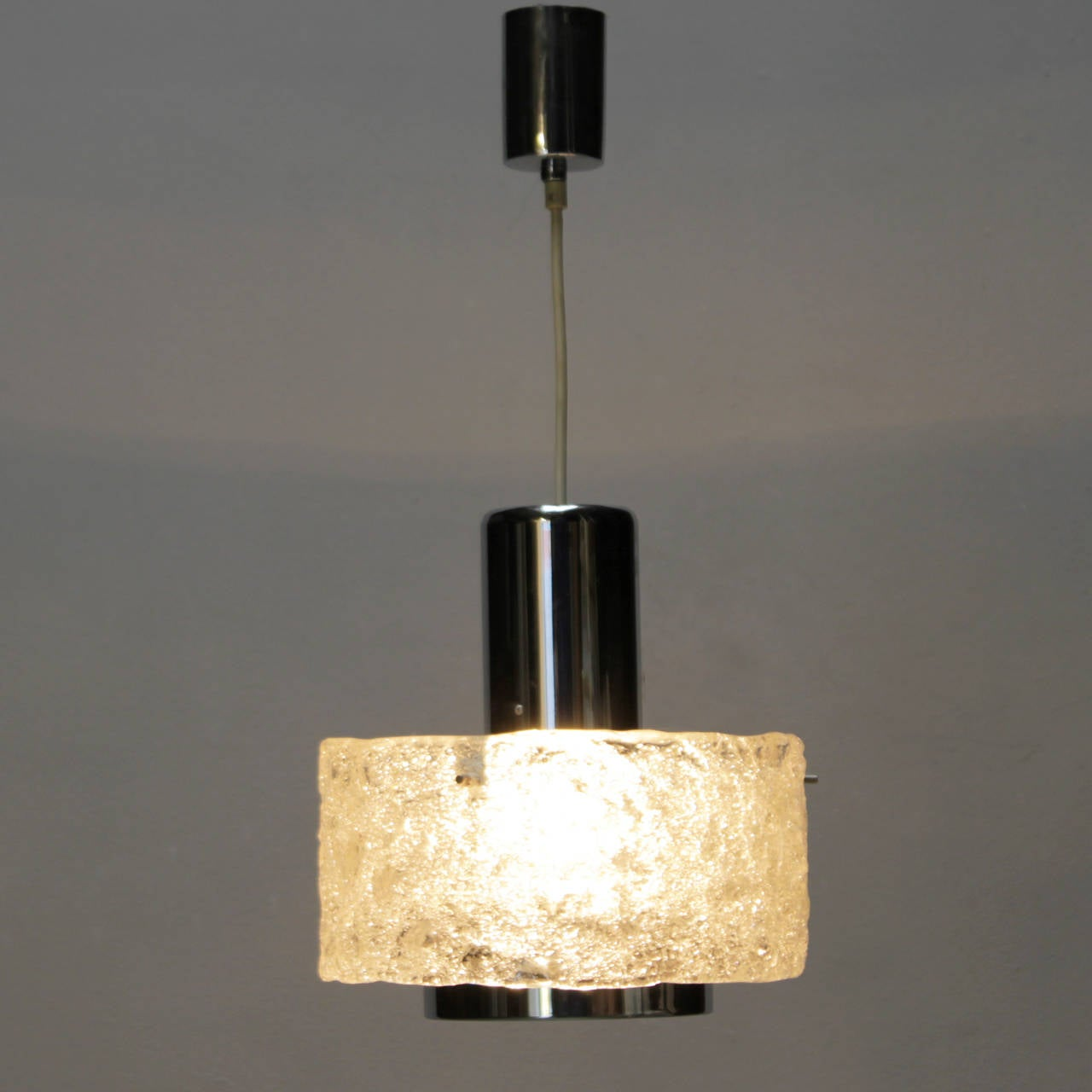 Frosted Pendant in the style of Kalmar Lighting For Sale