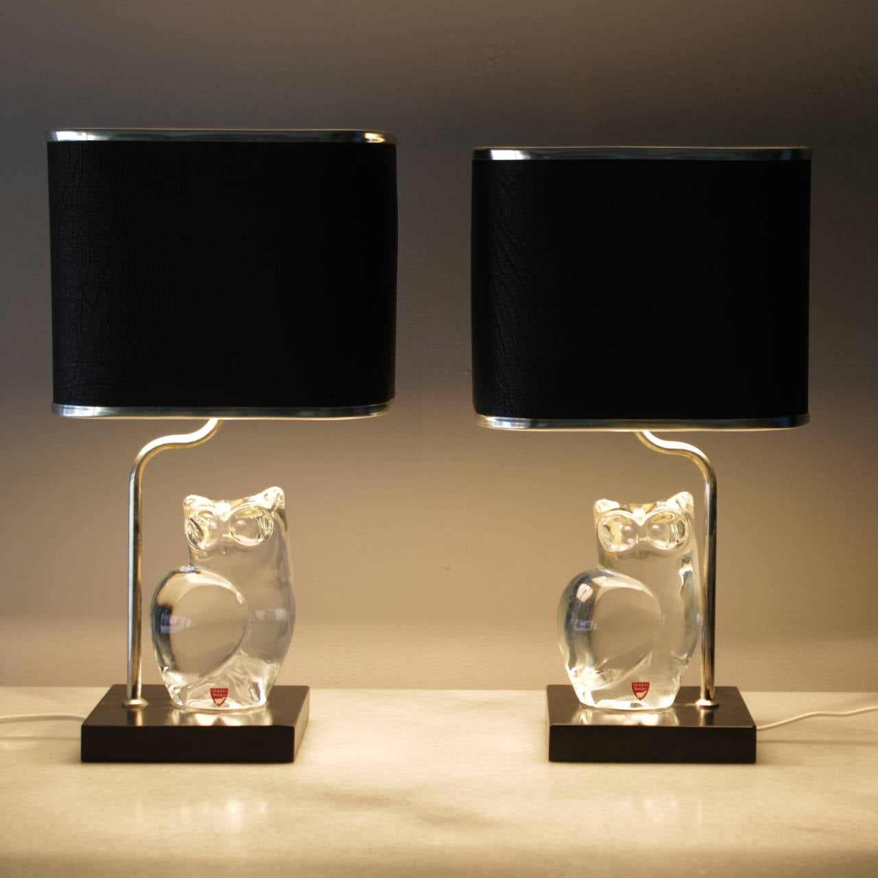 Pair of Crystal Lamps by Olle Alberius for Orrefors For Sale 3
