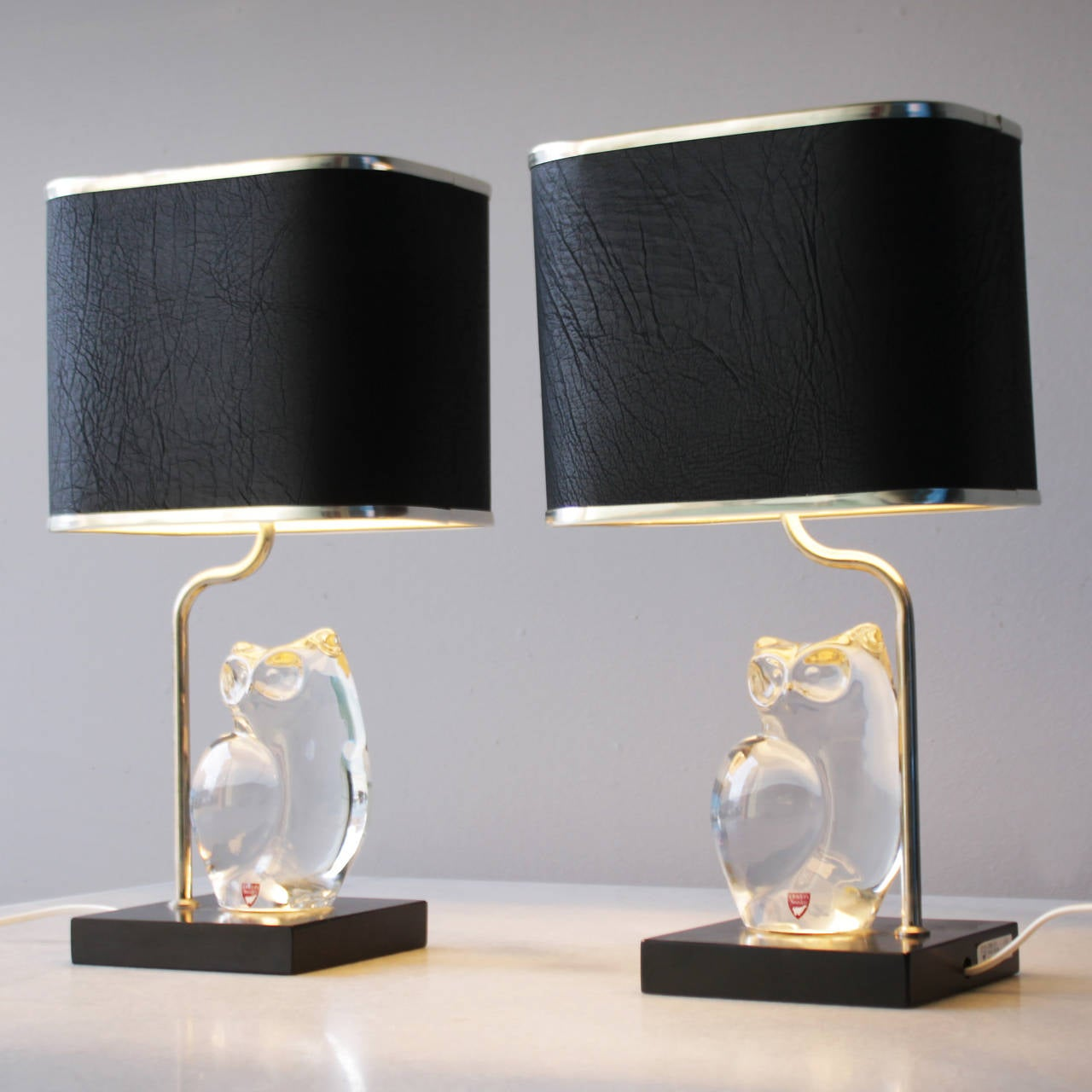 Swedish Pair of Crystal Lamps by Olle Alberius for Orrefors For Sale