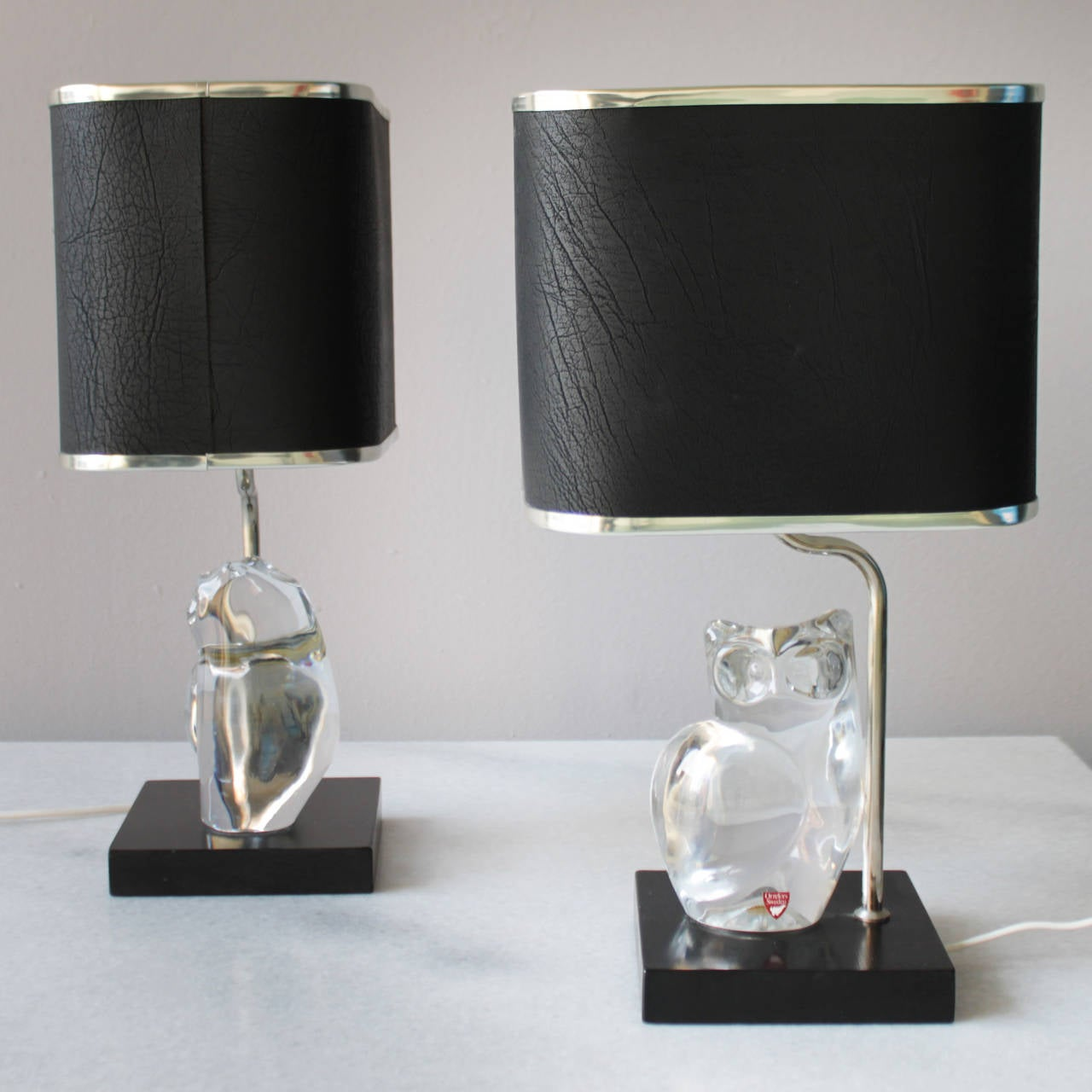 Pair of Crystal Lamps by Olle Alberius for Orrefors For Sale 2