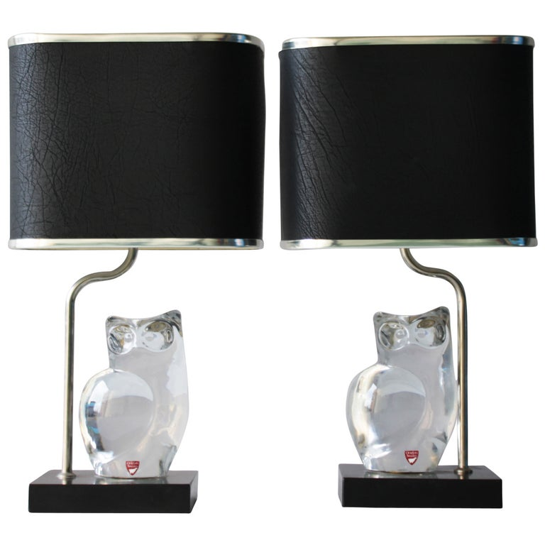 Pair of Crystal Lamps by Olle Alberius for Orrefors For Sale