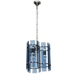 Faceted Glass Chandelier in the Manner of Fontana Arte