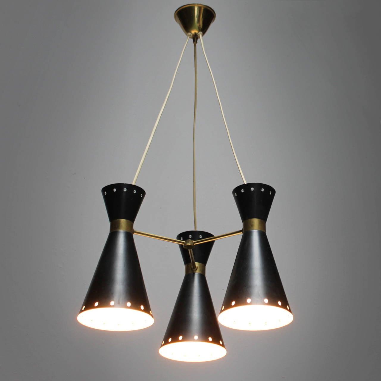 Three Light Swedish Diabolo Pendant At 1stdibs
