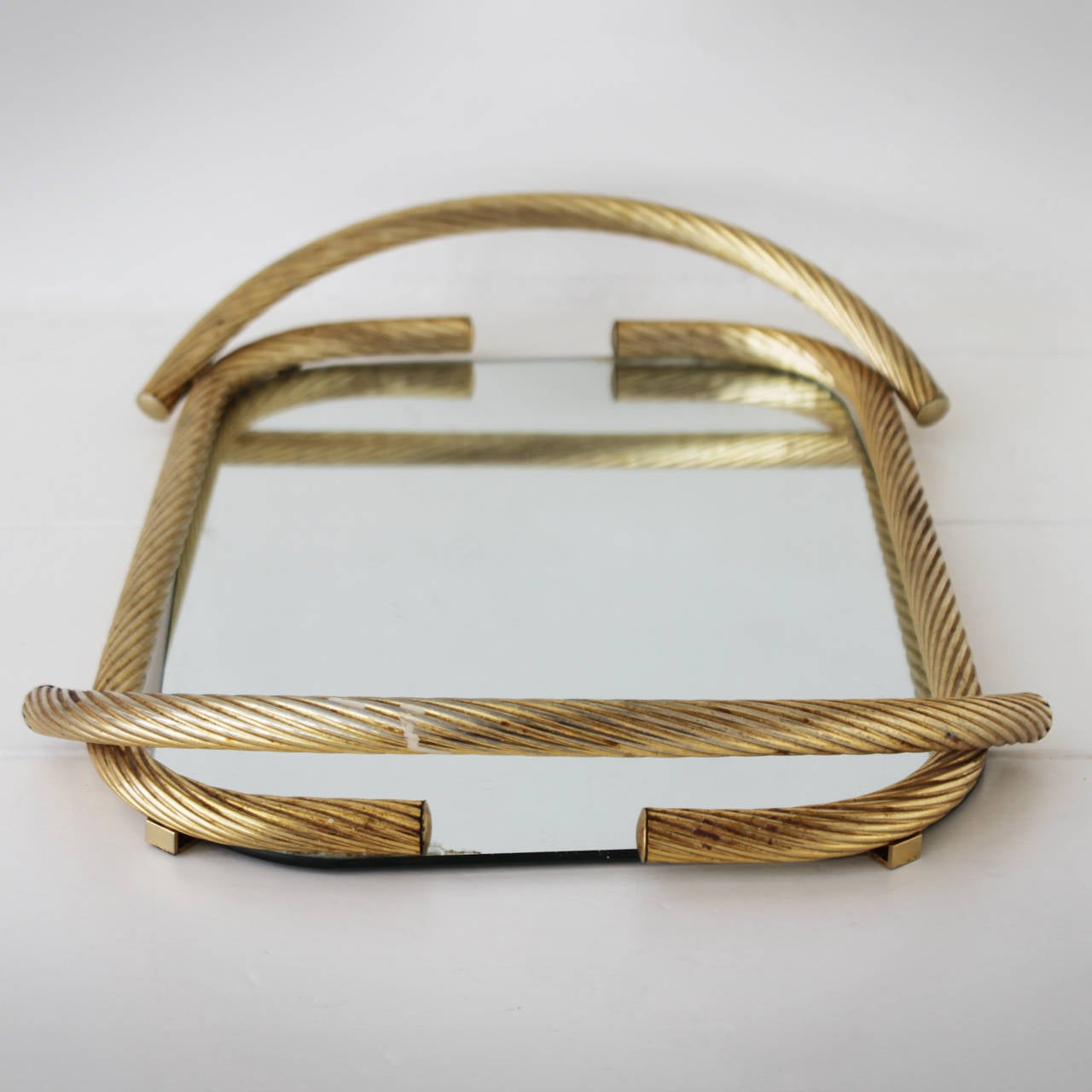 Metal French Rope Mirror Serving Tray For Sale