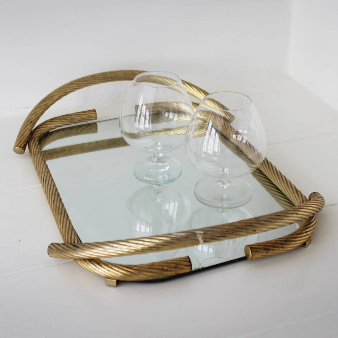 Late 20th Century French Rope Mirror Serving Tray For Sale