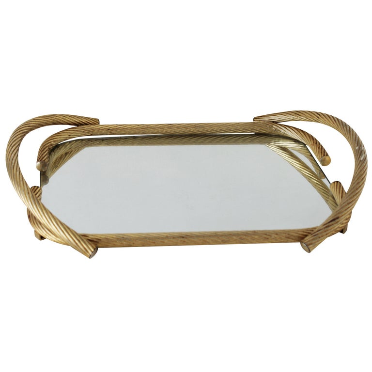 French Rope Mirror Serving Tray For Sale