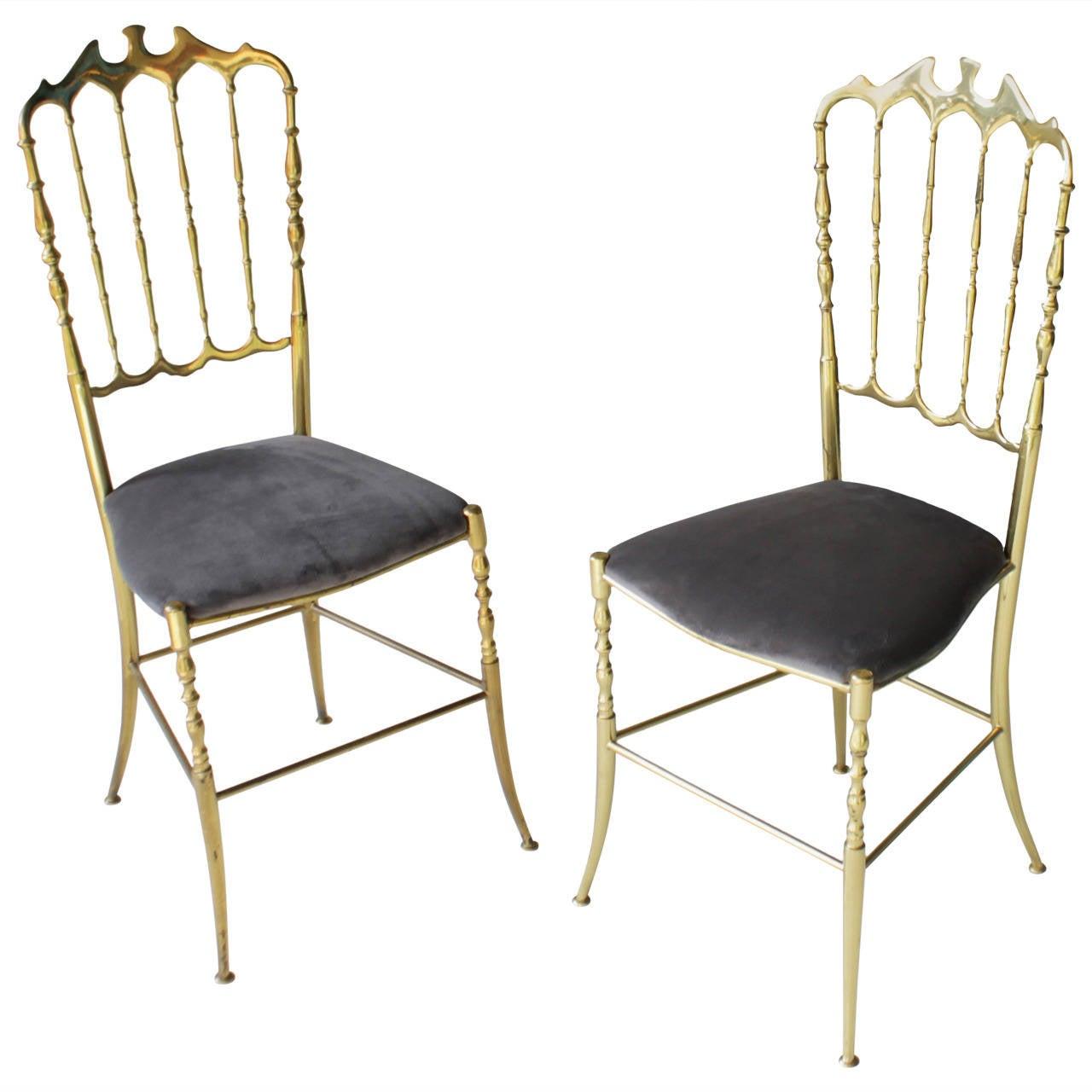 Pair of Brass Italian Chiavari Chairs