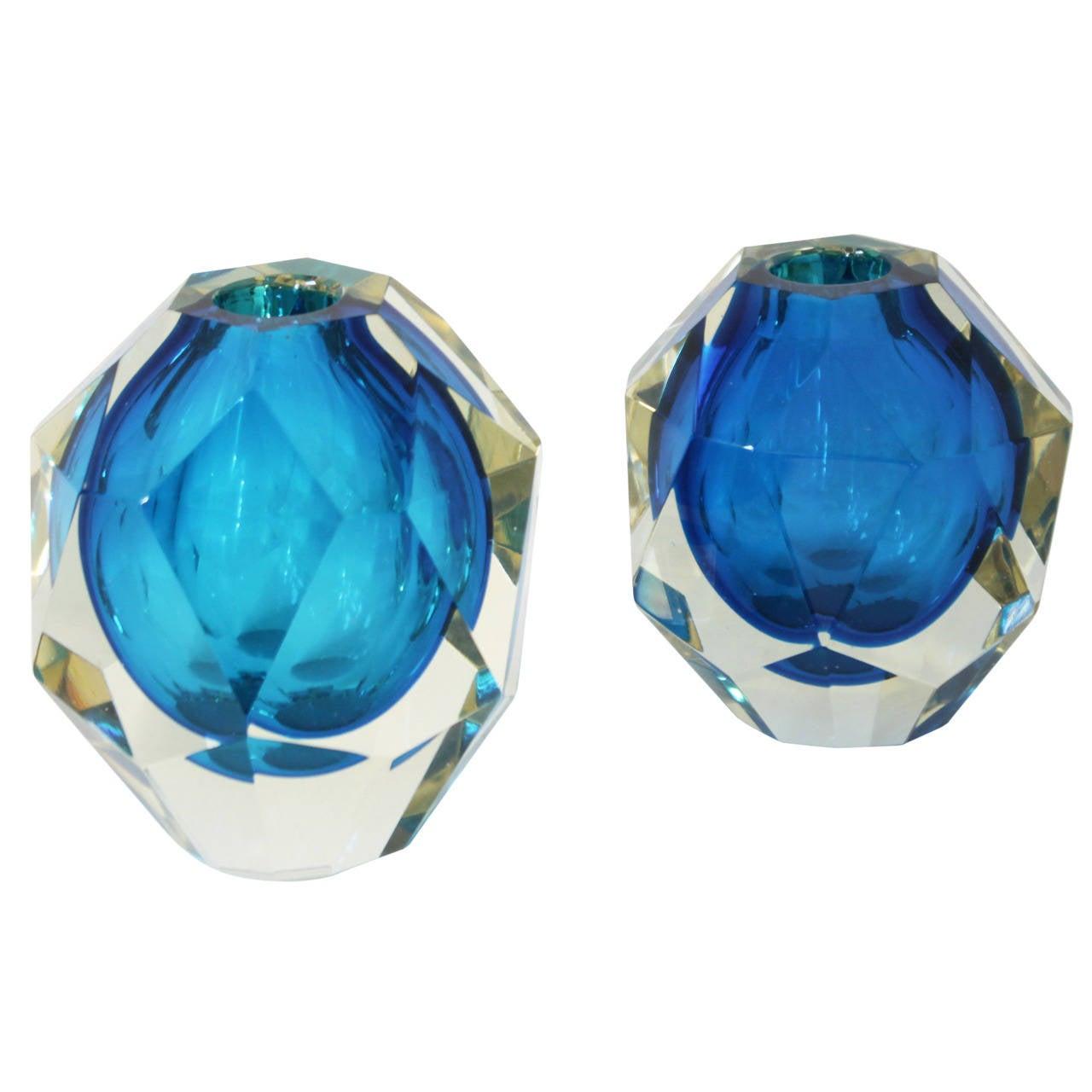 Pair of Blue Murano Facet Diamond Vases