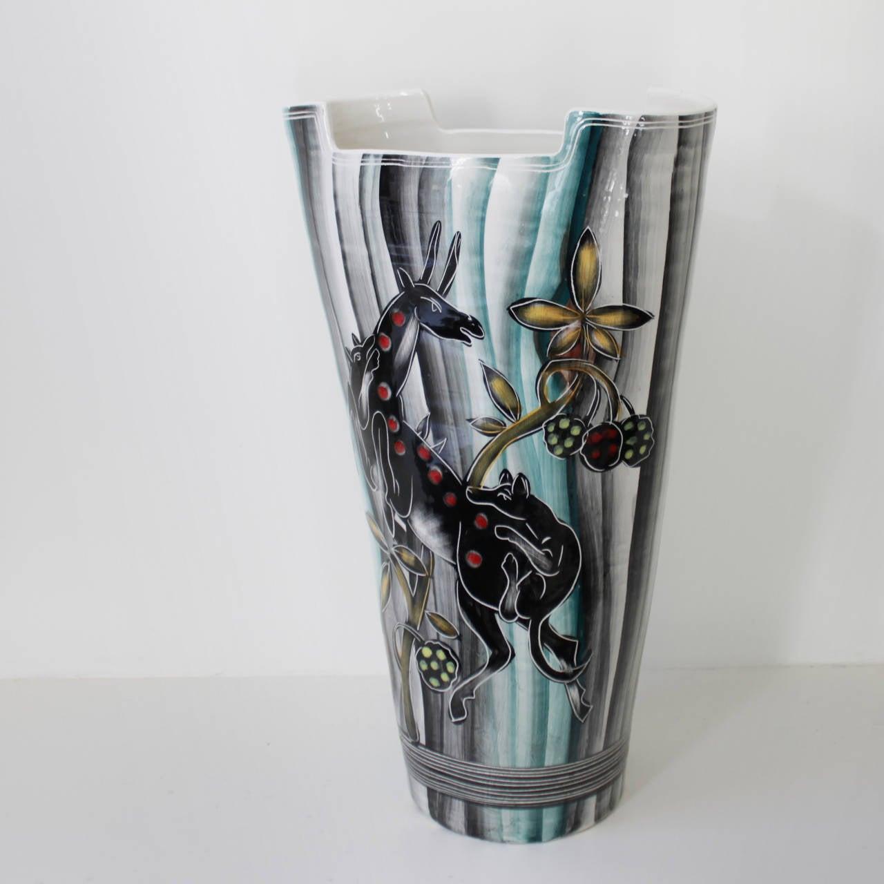 Glazed Large Italian Vase For Sale